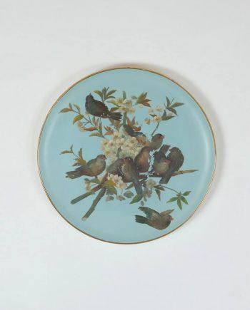 Antik madaras fali tányér az 1800-as évek végéről