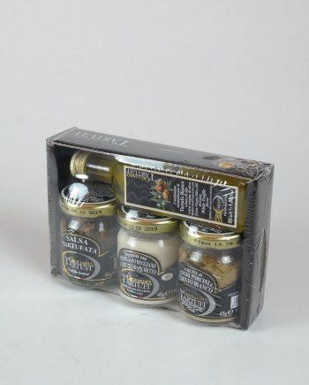 Szarvasgomba pép 50g +Vargánya krém fehér szarvasgombával 45 g + Kései szarvasgombás különlegesség parmezánsajttal 45 g + Extra szűz olívaolaj fehér szarvasgombával 55 ml