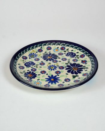 Jelzett, kézifestésű lengyel kerámia tányér