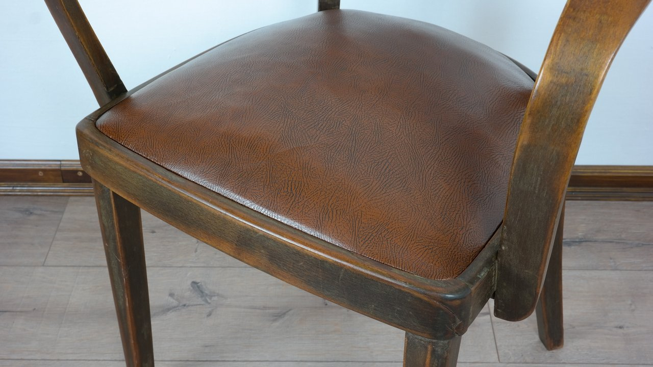 Antik karfás dolgozószék bőr ülőfelülettel