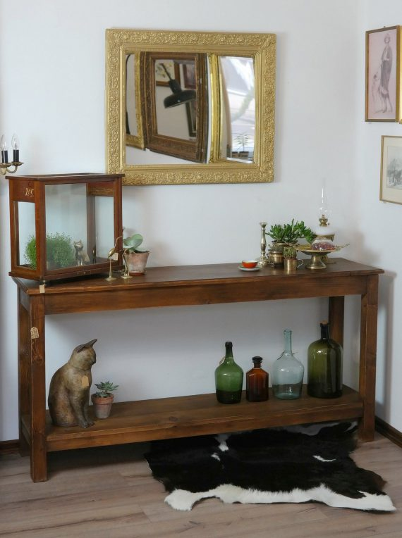 Új konzolasztal régi, bontott gerendából