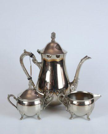 Alpakka teás/kávés szett kannával, tejkiöntővel és cukortartóval
